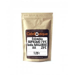 Кофе в зернах CafeBoutique Colombia Supremo EP + India Malabar AA 125 г