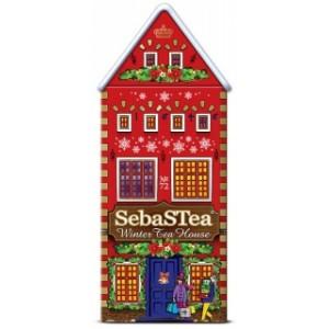 Чай черный листовой SebasTea Зимний домик 1 ж/б 100г
