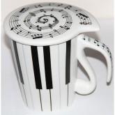 Чашка с крышкой Music  с нотками 450 мл