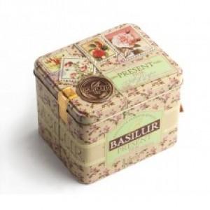 Чай зелёный листовой Basilur Подарок Розовый ж/б 100г